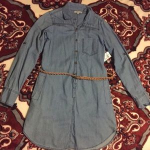 Denim Long Sleeve Dress with POCKETS and Belt
